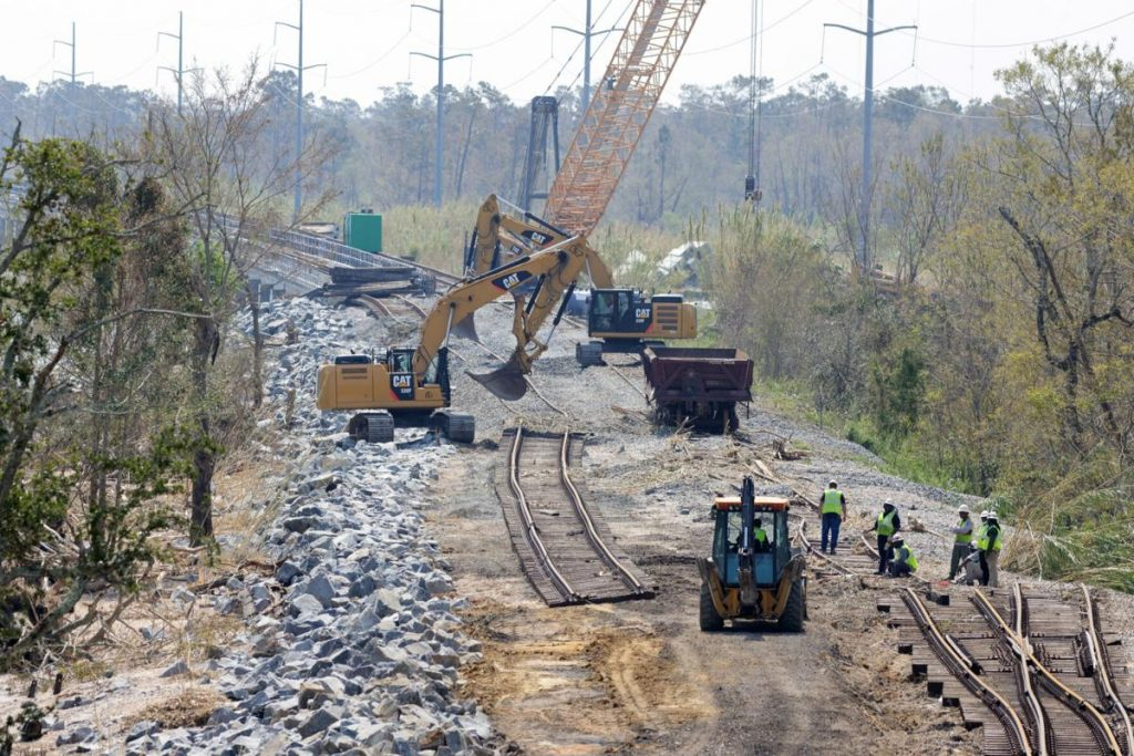 Rail damaged by Hurricane Ida